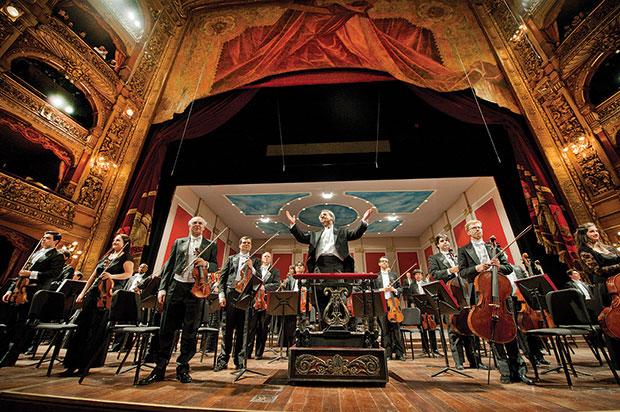 Concerto da Orquestra Filarmônica no Teatro Colón, em Buenos Aires.